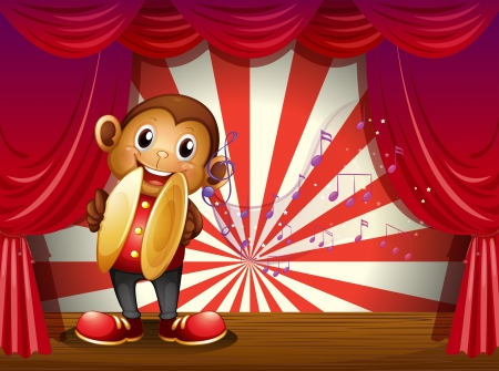 Illustration of a monkey with cymbals and musical notes at the stage Vector