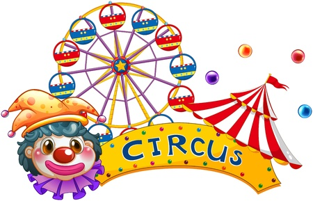 Illustration of a clown with a circus signage and a ferris wheel at the back on a white background Vector
