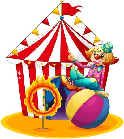Ilustración de un payaso sentado encima de una pelota al lado de un anillo de fuego delante de una carpa de circo en un fondo blanco