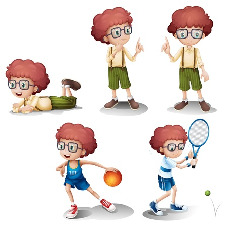 Illustration of the five different activities of a young boy on a white background Vector