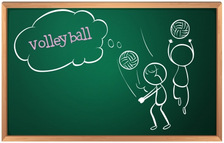 chalk board background: Illustration of a board with a sketch of two volleyball players on a white background Illustration