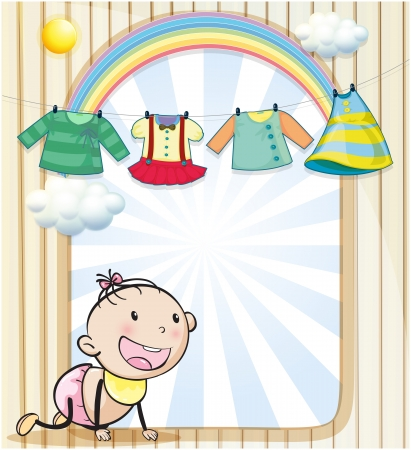 wet clothes: Illustration of a baby girl with hanging clothes Illustration