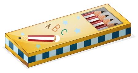 Illustration d'un cas de crayon sur un fond blanc