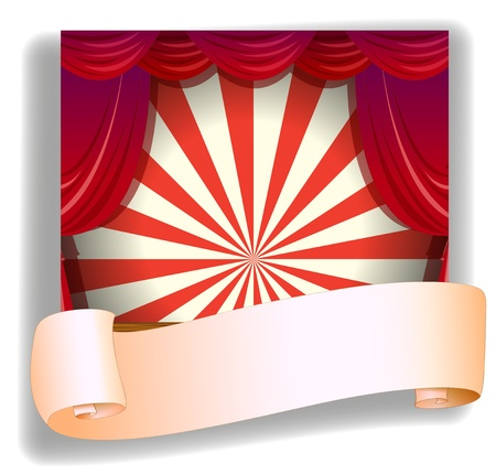 roll curtains: Illustration of a stage and a blank paper on a white background