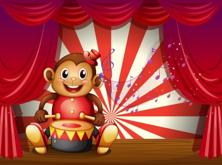 Illustration of a monkey playing with a musical instrument at the stage Stock Vector - 18859632