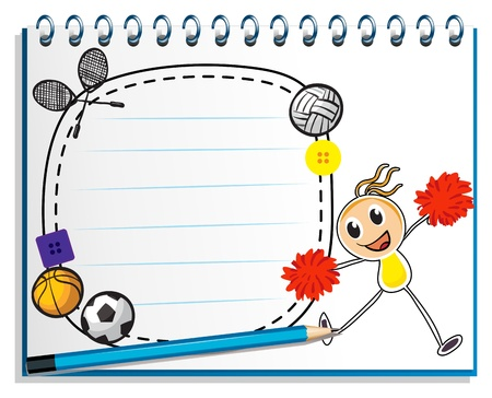 Illustration of a notebook with a sketch of a young cheerleader on a white background Vector