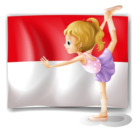 choreography: Illustration of a ballet dancer performing in front of the Indonesian flag on a white background