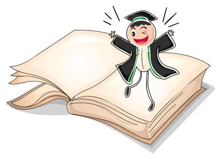 toga: Ilustración de un graduado por encima de un libro sobre un fondo blanco