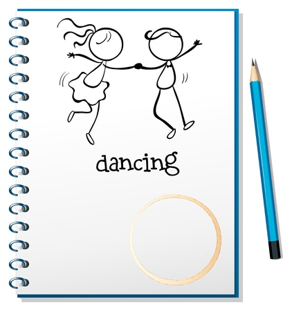 pointed: Illustration of a notebook with a sketch of a girl and a boy dancing on a white background Illustration
