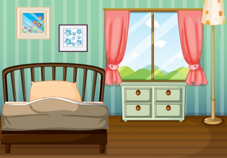 Illustration of an empty bedroom  Vector