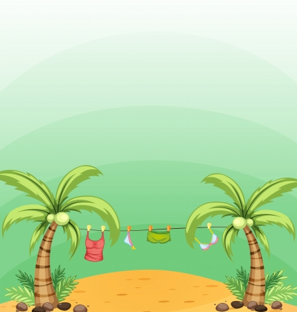 Illustration of the two coconut trees with hanging clothes  Illustration