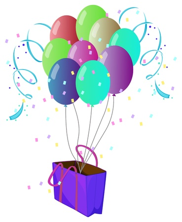 Illustration of a violet bag with ten different colors of balloons on a white background Stock Vector - 18860242