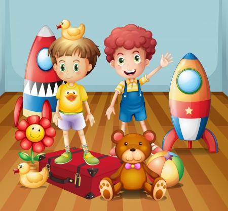 Illustration of the two boys surrounded with toys Vector