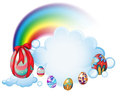 canvass: Illustration of the easter eggs above the clouds on a white background