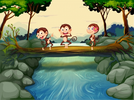 Illustration of the three monkeys crossing the river  Stock Vector - 18860360