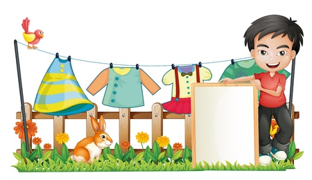 washing clothes: Illustration of a boy with a frame in front of the hanging clothes on a white background