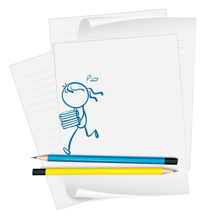 running fast: Illustration of a paper with a drawing of a girl bringing books on a white background Illustration