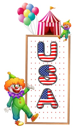 Illustration of a framed board with the USA letters on a white background Vector
