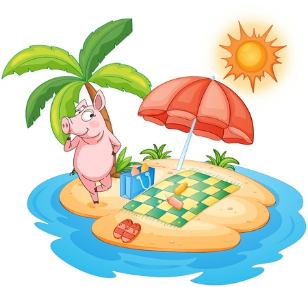 picnic blanket: Illustration of a beach with a pig enjoying summer on a white background Illustration