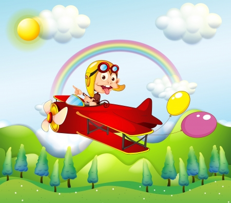 Illustration of a monkey riding on a red plane with two balloons Vector