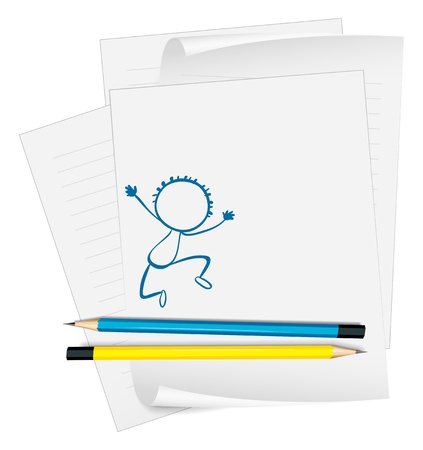 Illustration of a paper with a sketch of a young boy dancing on a white background Stock Vector - 18860114