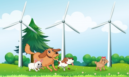 Illustration of the four dogs playing in front of the windmills Stock Vector - 18860285