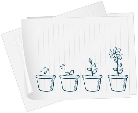 Illustration of a paper with a drawing of a growing plant on a white background Vector