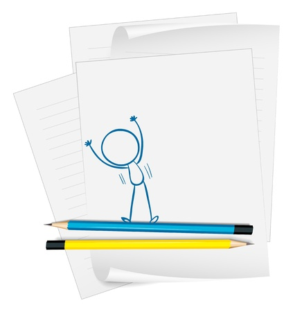 Illustration of a paper with a drawing of a boy exercising on a white background Stock Vector - 18860113