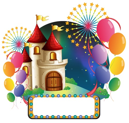 Illustration of a castle with balloons and an empty signage on a white background