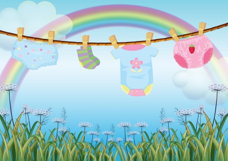 Illustration of the hanging baby clothes under the rainbow Vector
