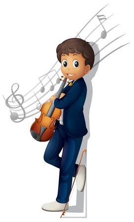 Illustration of a musician with a violin and musical notes on a white background Stock Vector - 18860286