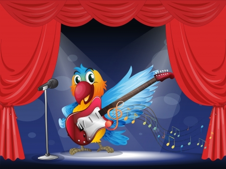 blue parrot: Illustration of a parrot with a guitar at the stage Illustration