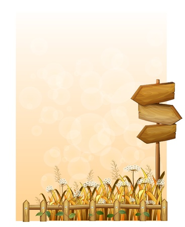 fence post: Illustration of a paper with wooden arrowboards on a white background