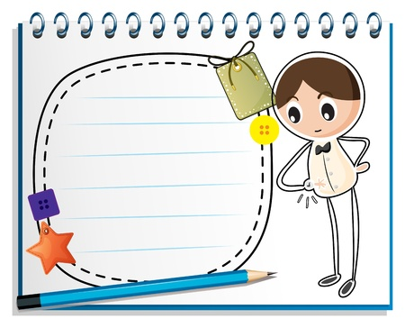 Illustration of a notebook with a sketch of a boy watching his watch on a white background Vector