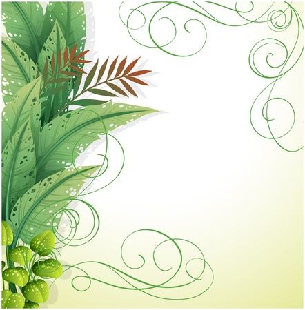 Illustration of a white paper with green plants on a white background Stock Vector - 18860292