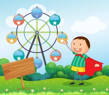 carnival ride: Illustration of a boy in the hill with a wooden signboard  and a ferris wheel at the back