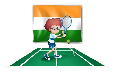 camaraderie: Illustration of a boy playing tennis in front of the Ireland flag on a white background Illustration