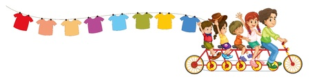 wash cloth: Illustration of a bike with kids and the hanging clothes on a white background