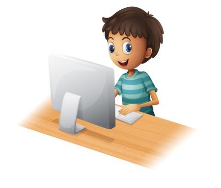 Ilustracja chłopiec grać na komputerze na białym tle