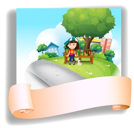 Illustration of a girl at the bench with her pet at the back of an empty template on a white background Vector