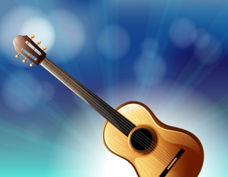 Illustration of a stationery with a classical guitar Vector
