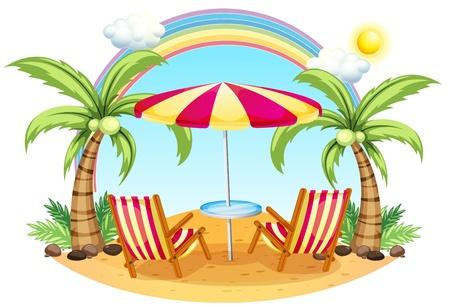 sonnenschirm: Illustration einer Meeresk�ste mit einem Sonnenschirm und St�hle auf einem wei�en Hintergrund