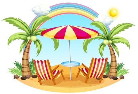 rainbow umbrella: Illustration of a seashore with a beach umbrella and chairs on a white background
