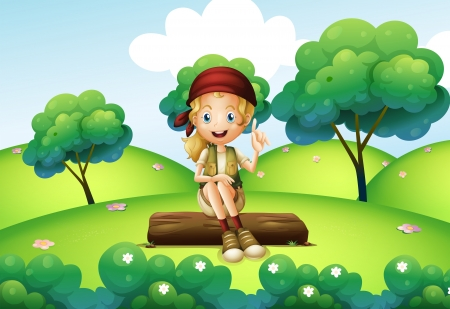 Illustration of a girl sitting on the trunk at the hill Vector