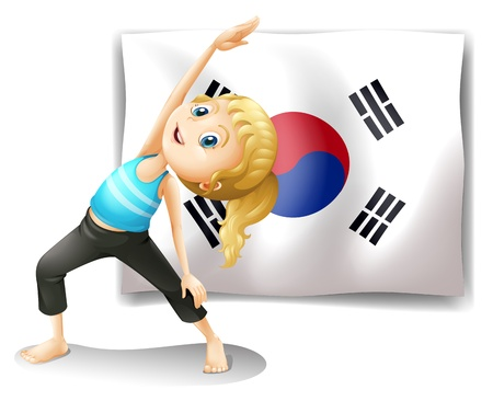 children circle: Illustration of a girl exercising in front of the South Korean flag on a white background