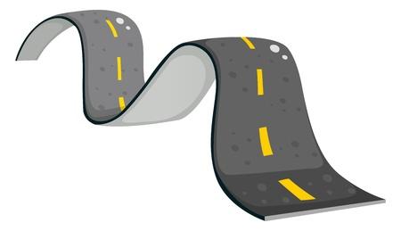 白い背景の上の狭い道路のイラスト