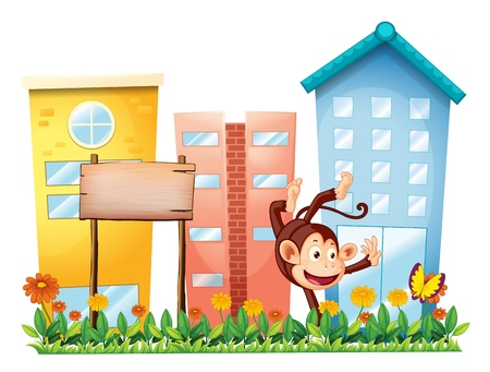 establishments: Illustration of a monkey in the garden with a wooden signboard on a white background Illustration