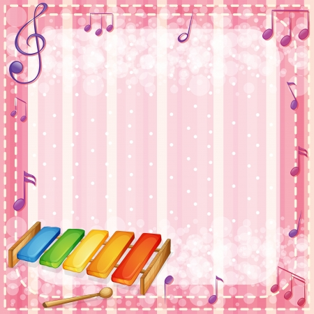 pinkish: Illustration of a colorful xylophone with musical notes Illustration