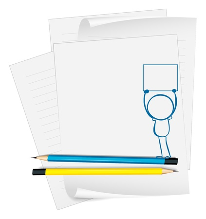 Illustration of a paper with a drawing of a boy holding an empty paper on a white background Stock Vector - 18860112