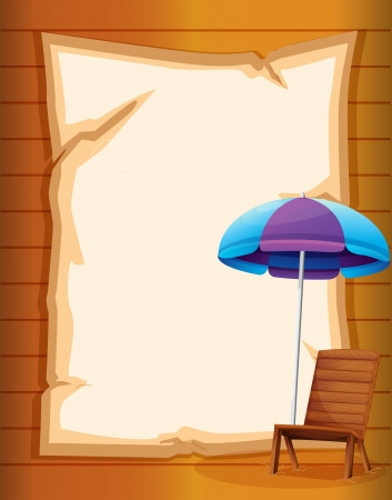Illustration of a paper with a beach chair and umbrella